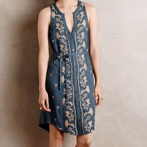 Anthropologie TINY embroidered blue glitter dress